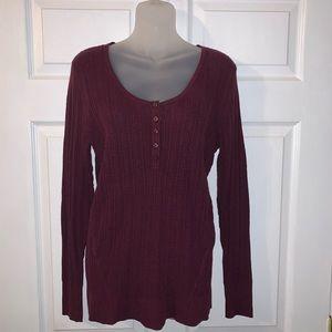 SONOMA Ribbed Knit MERLOT Lightweight Sweater Top